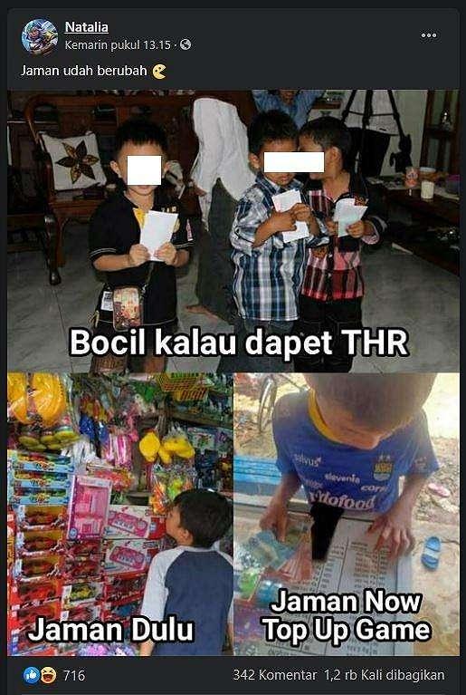 Meme kocak beda bocil zaman dulu vs sekarang dalam menggunakan uang THR lebaran. (Facebook/ Natalia)