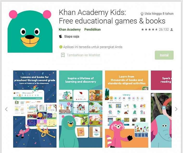 Game Edukasi Anak - Khan Academy Kids: Free educational games & books. (Google Play Store)