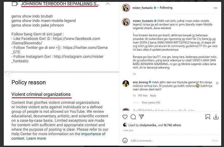 Video main Mobile Legends Gema Show Indo ke Strike YouTube dianggap organisasi kriminal. (Instagram/ mister_funtastic)