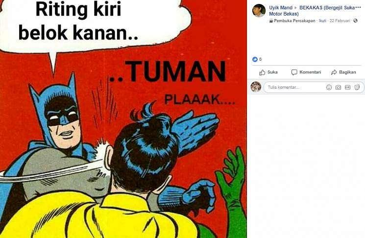 Meme 'Tuman' bertema otomotif yang membuat kram perut. (Facebook/Uyik Mand)