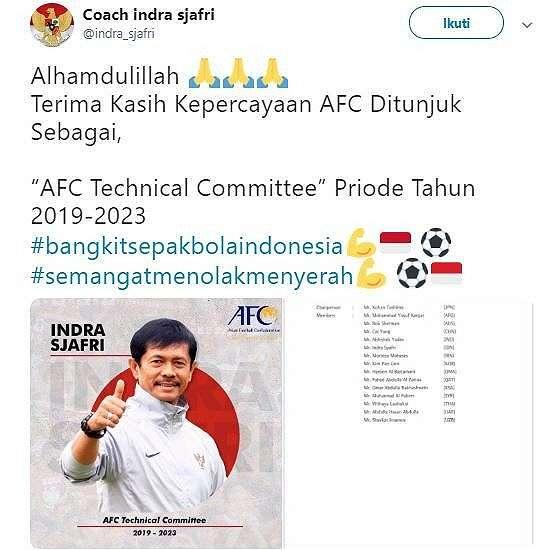 Indra Sjafri jadi anggota Komite Teknik AFC 2019-2023. (Twitter/@indra_sjafri).