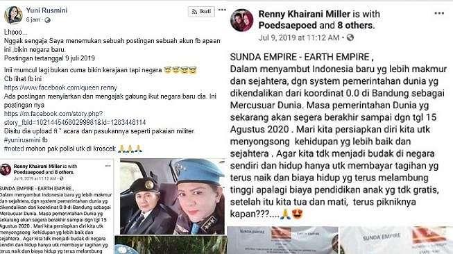 Heboh Sunda Empire, Klaim Pemerintahan Dunia Berakhir Agustus 2020 (Facebook Yuni Rusmini)