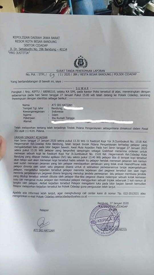 Driver ojol di Bandung dianiaya pegawai kedai kopi (ist)