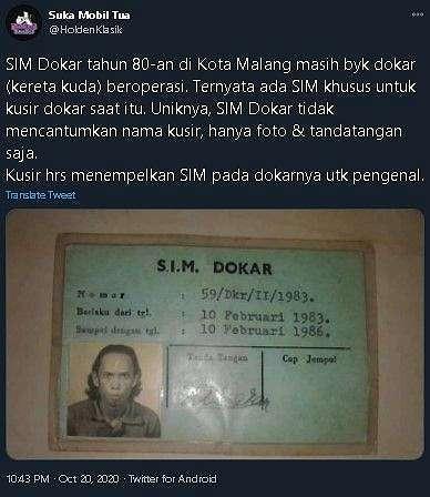 Foto SIM kusir dokar tahun 1980an.(Twitter/@holdenklasik)