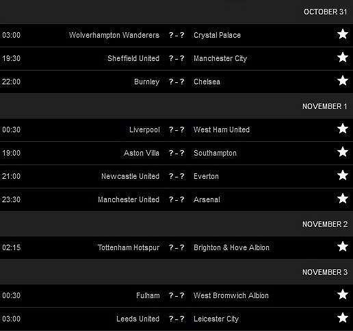 Jadwal Liga Inggris pekan ketujuh. [Tangkapan layar Livescore]