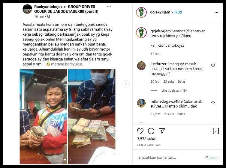 Kisah Haru Bocah 11 Tahun Jadi Tukang Parkir Usai Ayah Meninggal Dunia (Instagram/Gojek24Jam).