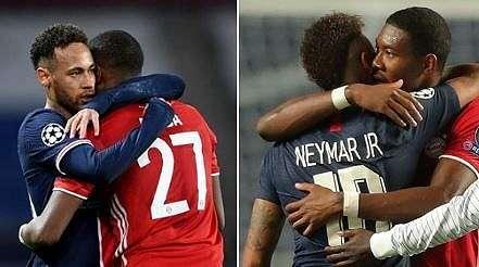 Momen Neymar yang balas peluk Alaba usai PSG ke semifinal Liga Champions. (Twitter@talkSPORT)