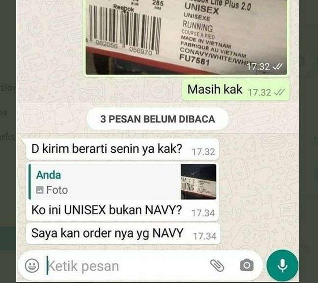 Viral Pembeli Tak Paham Arti Unisex, Dikira Nama Warna (twitter.com/txtdarionlshop)
