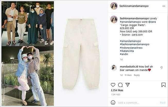 Tumben Murah, Celana Polos Amanda Manopo Ramai Diincar Warganet. (Instagram/@fashionamandamanopo)