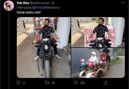 Chef Juna Ulang Tahun, Viral Foto Garangnya Disulap Jadi Meme Tukang Galon Keliling. (Twitter/@ArnoldPoernomo)