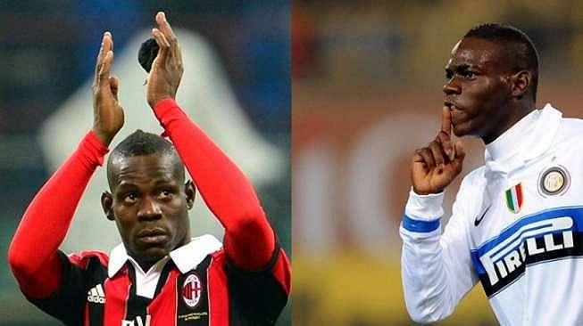 Mario Balotelli saat memperkuat AC Milan (kanan) dan Inter Milan [AFP]