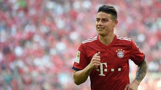 James Rodriguez memperkuat Bayern Munich kala menjamu Stutgart di Allianz Arena pada 12/5/2018 [AFP]