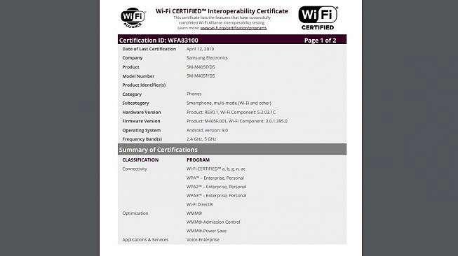 Sertifikat Samsung Galaxy M40. [wi-fi]