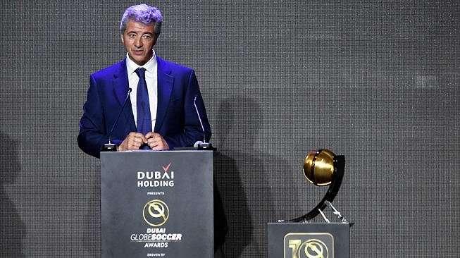Kepala Eksekutif Atletico Madrid, Miguel Angel Gil Marin memberi sambutan dalam sebuah kegiatan. (Marco ALPOZZI / La Presse / AFP)