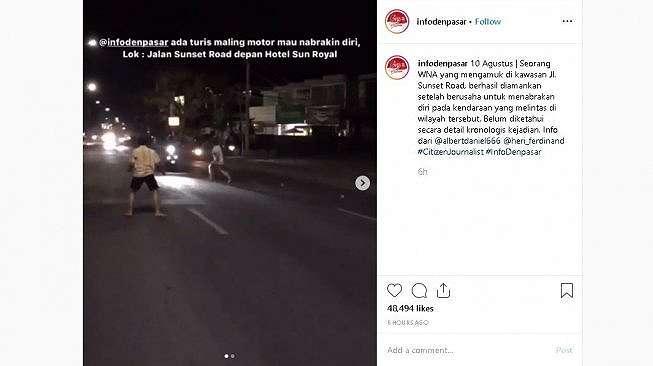 Pria asing tabrakkan diri di Bali - (Instagram/@infodenpasar)