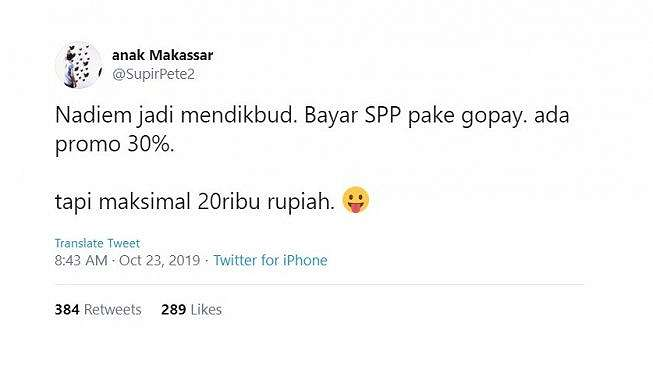 Cuitan warganet soal Nadiem Makarim jadi Mendikbud. [Twitter]