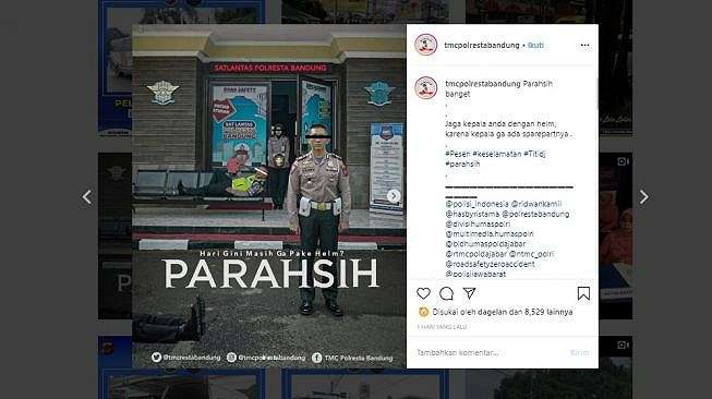 Meme Parahsih buatan TMC Polresta Bandung (Instagram @tmcpolrestabandung)