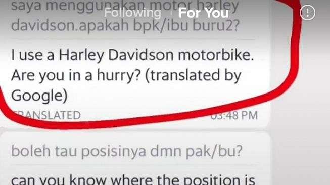 Driver ojol pakai Harley Davidson. [TikTok]