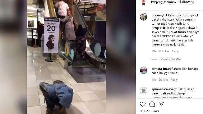Sejumlah orang salah naik eskalator (instagram.com/@kanjeng_mamiew)