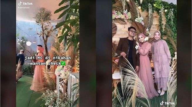 Viral Wanita Jadi MC di Pernikahan Pacar (tiktok.com/@awnafaaa)