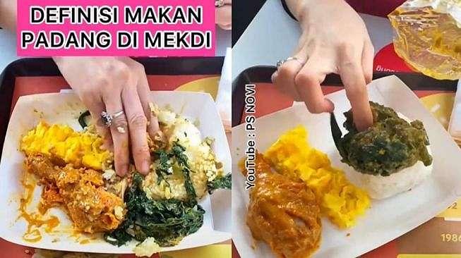 Viral perempuan makan ayam gulai di McD (TikTok/@psnovi)