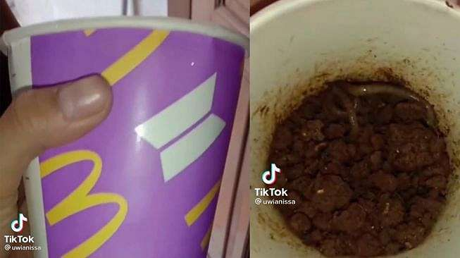 Gelas BTS Meal McD Dipakai Buat Cari Cacing Oleh Ayahnya, Cewek Ini Nangis. (Dok: TikTok/uwianissa )