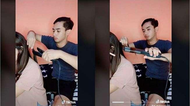 Viral Pria Bantu Catok Rambut Istri (tiktok.com/al_muhamad.021)