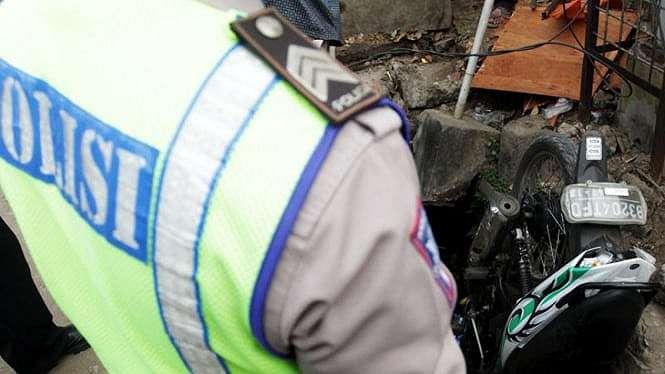 Foto ilustrasi kecelakaan pemotor di Jakarta.