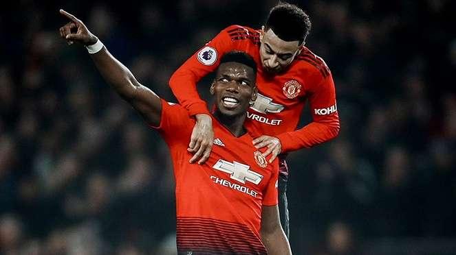 Pemain Manchester United, Paul Pogba usai mencetak gol