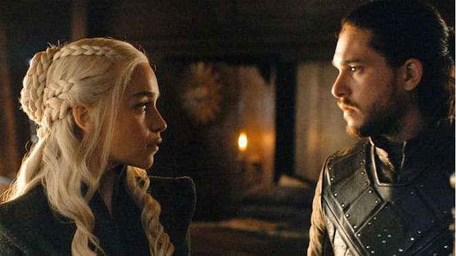 Jon Snow dan Daenerys Targaryen dalam Game of Thrones.