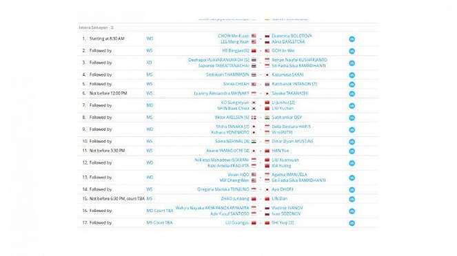 Jadwal Indonesia Masters 2