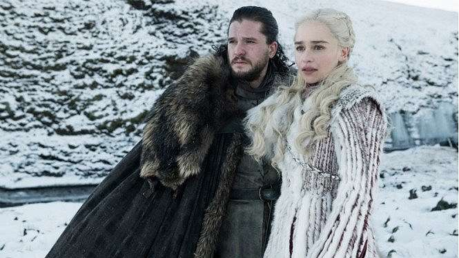 Jon Snow dan Daenerys Targaryen dalam Game of Thrones Season 8.