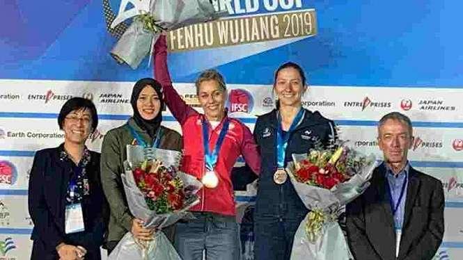 Aries Susanti Rahayu juara 2 di seri IFSC Climbing Worldcup di Wujiang, China.