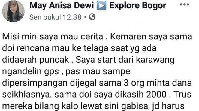 Wisatawan unggah ke FB soal pemalakan di daerah Bogor, Jawa Barat.