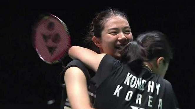 Kim/Kong selebrasi kemenangan final Japan Open 2019.