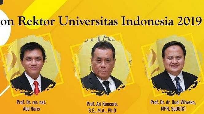 Inilah 3 clon rektor UI yang akan mengikuti debat publik pada 25 September mendatang.