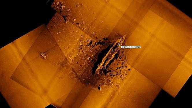 Pencitraan sonar mengungkap keberadaan kapal Akagi yang terletak 5.490 meter di bawah laut. - Vulcan Inc