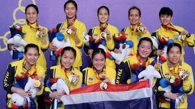 Tim badminton putri Thailand juara SEA Games 2019.