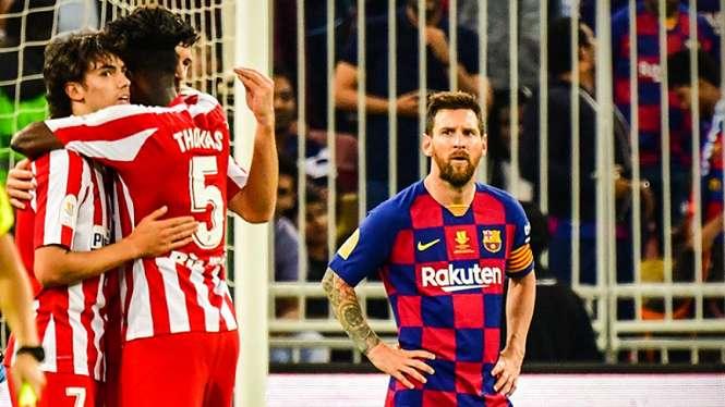 Lionel Messi kecewa Barcelona disingkirkan Atletico Madrid di Supercopa Spanyol