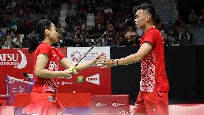 Rinov Rivaldy/Pitha Haningtyas Mentari di Indonesia Masters 2020.