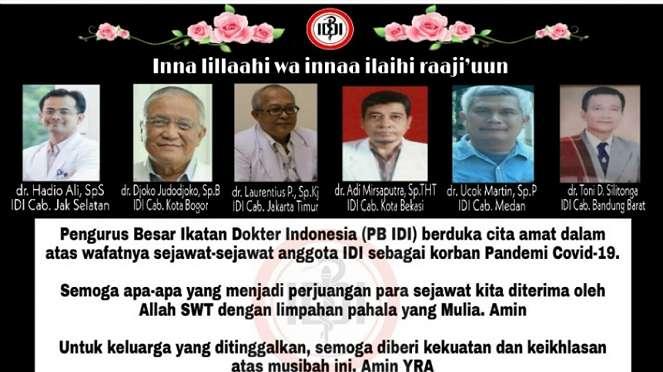 IDI mengucapkan belasukawa atas wafatnya 6 dokter dalam tugas memerangi COVID-19