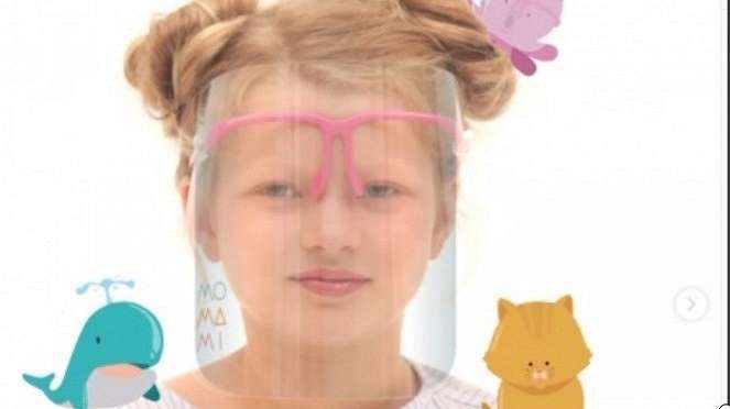 Ilustrasi anak pakai Face Shield