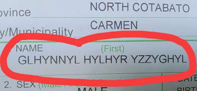 Bayi Laki-laki di Philipina Ini Diberi Nama    Ghlynnyl Hylhyr Yzzyghyl