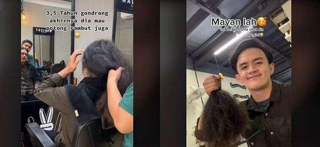Viral Wanita Temani Pacar Potong Rambut Gondrong, Malah Ikutan Pangling