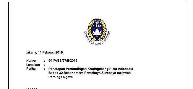 Piala Indonesia: Persebaya vs Persinga Hanya Digelar Satu Kali