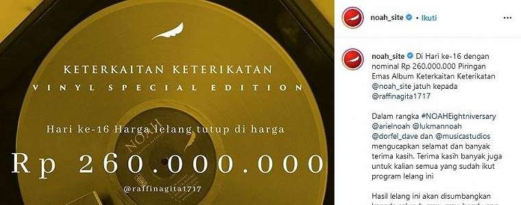 Raffi Ahmad - Nagita Slavina Menang Lelang Album Band NOAH, Rp 260 Juta