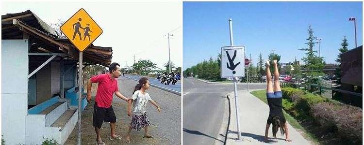 15 Potret orang tirukan pose rambu lalu lintas, bikin tepuk jidat