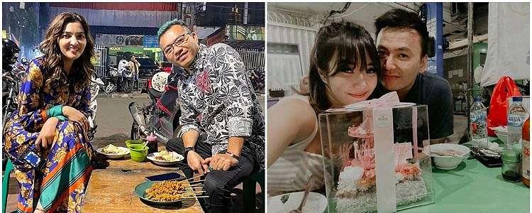 6 Pasangan seleb ini tak gengsi dinner di warung PKL, tetap romantis