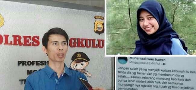 Muhamad Irawan Unggah Status Mencurigakan, Keluarga Korban Pembunuhan Mahasiswi Unib Lapor Polisi