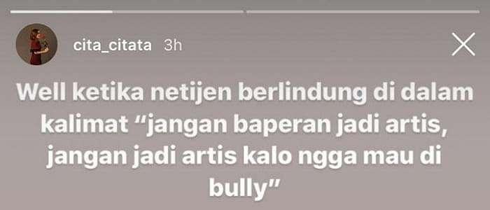 Belajar dari Kasus Sulli, Cita Citata Serukan Stop Cyber Bullying